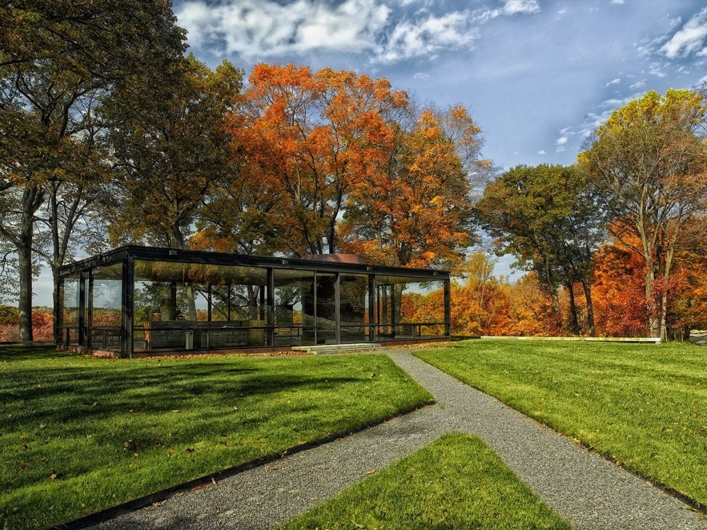 An image of a commercial property with leaves tree with fall leaves and grass that is groomed.